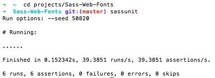 The output of SassUnit is like RSpec, with each passing test displayed as a dot.